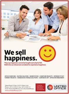 WE SELL HAPPINESS. They say #happiness cannot be bought and only be felt. Walk into our showroom at #Zabeel Road, Karama to experience happiness or visit us at www.unitedofficesys.com today :). We assure you the visit is worth.