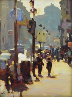 Kim English (1957-) > Tuesday in Rome | Oil on panel, 9 x 12 inches