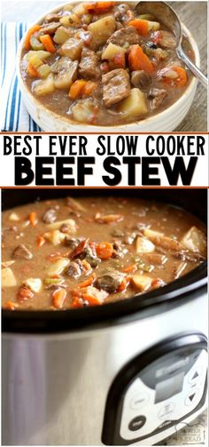 Beef Stew Crock Pot recipe made with tender chunks of beef, loads of vegetables and a simple mixture of broth and spices that yields the BEST slow cooker beef stew ever! #beef #stew #stewrecipe #slowcooker #crockpot #beefstew #homemadestew from BUTTER WITH A SIDE OF BREAD Best Crockpot Beef Stew, Best Slow Cooker, Crockpot Dishes, Slow Cooker Beef, Crock Pot Cooking, Slow Cooker Recipes, Cooking Recipes, Crockpot Meals, Beef Stew Crock Pot