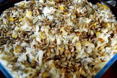 Sałatka z jajkami, kukurydzą i prażonym słonecznikiem... Drobne łezki makaronu w kształcie ryżu. Żółte ziarna słodkiej kukurydzy i kostecz... Snack Recipes, Snacks, Shrimp Pasta, Grilling, Food And Drink, Diet, Snack Mix Recipes, Appetizer Recipes, Appetizers