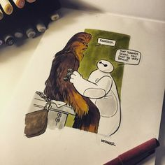 "Chewie and Baymax by Brian Kesinger ""The Resistance has the best medical droids in the galaxy..,"""