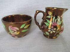 WADE ENGLAND COPPER LUSTRE LUSTER WARE FLORAL Pitcher & Sugar Bowl