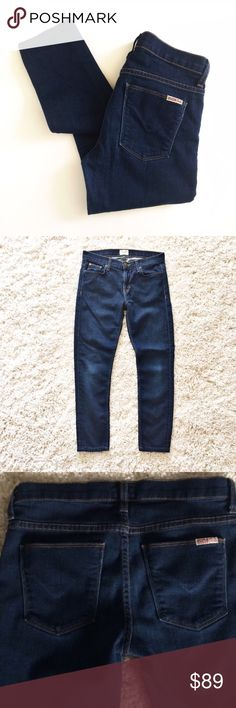 """HUDSON Dark Denim skinny cropped ankle Jeans Gently worn. Size 26. Inseam 23.5"""". Waist approx 13.5"""" across. Rise 8"""". Leg opening 5"""" across. Rayon, cotton, tencel and Lycra. Great condition! Hudson Jeans Jeans Ankle & Cropped"""
