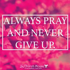 💖💖💖 Always Pray and Never Give Up.Little Church Mouse 3 September 2016 💖💖💖 God Is Amazing, God Is Good, Bible Quotes, Bible Verses, Scriptures, Spiritual Quotes, Religious Quotes, Walk By Faith, God Jesus
