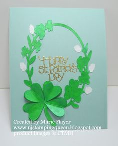 NJ Stamping Queen: Happy St. Patty's Day Card with Atlantic Hearts Sketch #203