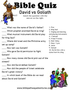 Bible Quiz: David and Goliath Printable Torah Bible quiz - David and Goliath.Printable Torah Bible quiz - David and Goliath. Sunday School Activities, Bible Activities, Sunday School Lessons, Sunday School Crafts, Bible Games, School Games, Bible Study For Kids, Bible Lessons For Kids, Kids Bible