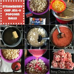 Strawberry Chip JELL-O Popcorn Balls- Fun and easy snack for the 2015 Kids' Choice Awards! #Ad #KidsChoiceDrink #Cbias