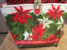 POINSETTIAS RED GREEN CHRISTMAS VINTAGE TABLECLOTH DOODABA HANDBAG TOTE BAG #Handmade #ShoulderBag