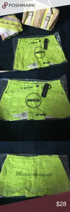 """New Shinestar shorts Spring time is here and summer is quickly approaching! These lime green shorts are sure to shine bright in the sun. Approximately 9"""". New never opened size medium, stretchy shorts. shinestar Shorts"""