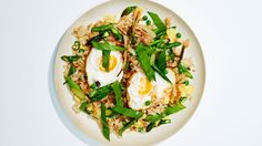 Fried rice with fried eggs and spring vegetable - Bon Apetit