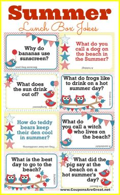 Add these free printable Summer Lunch Box Jokes to your summer events (end of school, camp, pillows, dinner setting) for smiles and laughs. #jokesforkids