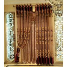 Raw Silk Wine Color Beautiful Decorative Sheer Curtain For Living Room