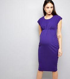 7ee66e3f6 Maternity Purple Short Sleeve Midi Dress Vestidos De Maternidad