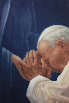 """St JP II and BVM :  Pope John Paul II's motto was """"Totus Tuus,"""" the result of a deep, enduring devotion to Mary"""