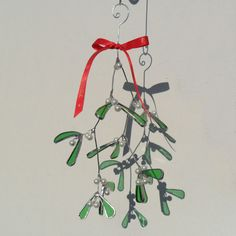 Christmas Mistletoe Sprig, Stained Glass Mistletoe Sprig, Mistletoe Sprig, 3D Mistletoe Decoration - Made To Order