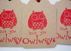 Valentine's Day Red Owl Love You Gift Tags Set of 6 by PoofsPlace, $4.00