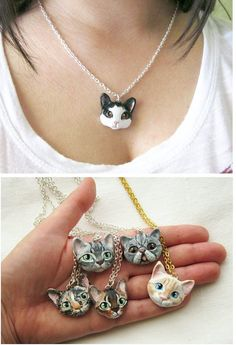 Cat Portrait Necklace or Brooch Portrait of your door FlowerLandShop