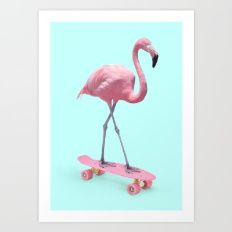 Art Print featuring SKATE FLAMINGO by Paul Fuentes