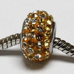 beads di color topazio con cristalli