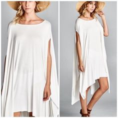 Best selling oversized Tunic poncho A line Best selling slouchy oversized poncho tunic available in ivory Nwot oversized tunic cape that can also be worn as a dress. On or off one shoulder . Best selling style A line will fit size S - XXXL nwot one size chiffon Vivacouture Tops
