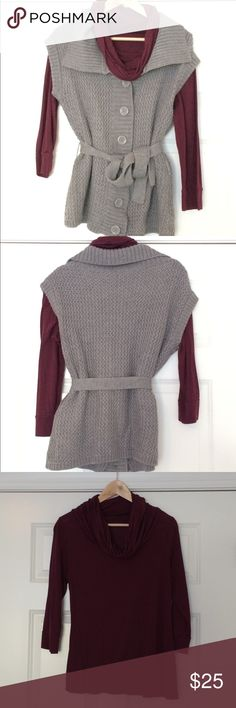 Gray knit sweater with maroon blouse Gray knit sweater has knit belt to accentuate your waist. Button closure. Comes with coordinating cowl-necked maroon long sleeve blouse. Dress up with a pair of dress pants or dress down with a nice pair of jeans. Either way you will look polished yet will be comfortable & warm. Sold as a set. Originally purchased at the Limited. Outback Red Sweaters Cardigans
