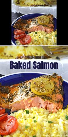Baked Fish Fillet, Oven Baked Salmon, Baked Salmon Recipes, Fish Recipes, Healthy Baking, Healthy Food, Healthy Recipes, Camarones Fritos, Salmon Dishes