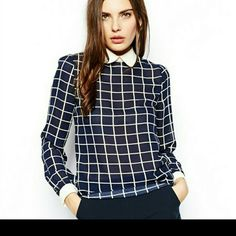 Final price-Grid blouse Peter pan collar .Yellow and dark blue grid blouse. Nwot. Never wear. Tops Blouses