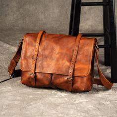 Leather Messenger bag, laptop bag,Brown, Leather ,Messenger Bag, Shoulder Bag, Leather Satchel, Leather Briefcase GZ049