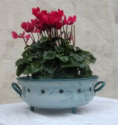 antique french enamelware planter in blue and by LaBonneVie72