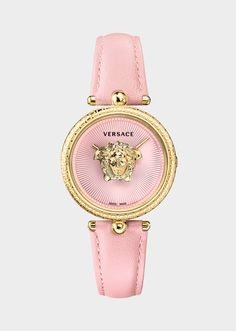 Versace Pink Palazzo Empire 34 mm  Watch  for Women | US Online Store. Pink Palazzo Empire 34 mm  Watch  from Versace Women's Collection. The Palazzo Empire in pink - chic and sophisticated as always, The iconic style remains unchanged: the central Medusa icon takes center stage, tone-on-tone Greek key engraving decorates the bezel, and the guilloche sunray dial tone matches the leather strap.