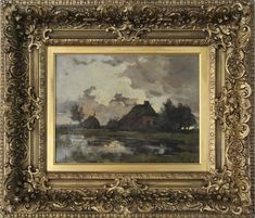 Theophile de Bock Farm House Landscape Oil Painting | From a unique collection of antique and modern paintings at https://www.1stdibs.com/furniture/wall-decorations/paintings/