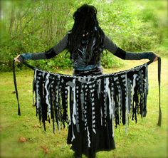 ON SALE, Tattered Skirt, Pixie Skirt, Festival Wrap Skirt, Interstellar Weave, Black and Gray Sparkles, Gypsy Clothes