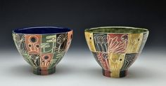 Marcy Neiditz - sgraffito bowls Sgraffito, Ceramic Artists, Surface Design, Bowls, Planter Pots, Clay, Sculpture, Ceramics, Tableware