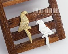Origami parrot earrings,origami jewrlry, origami animal,parrot studs