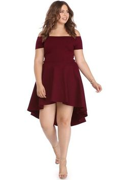 e28ed99a344 Plus Burgundy All The Rage Skater Dress Cute Skater Skirts