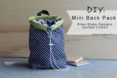 Riley Blake Designs Blog Tour.. Quilted Cotton Mini Back Pack | Haberdashery Fun
