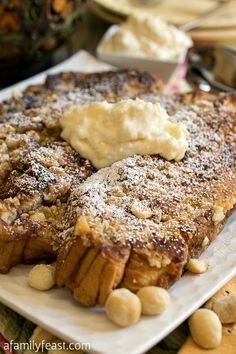 An amazing Hawaiian French Toast with a macadamia crust, topped with a pineapple and mascarpone cheese topping! Wow - This is delicious!