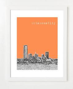 Etsy.com -- Oklahoma City Art  - Skyline Print 8x10 Poster - Oklahoma City Skyline - Version 2