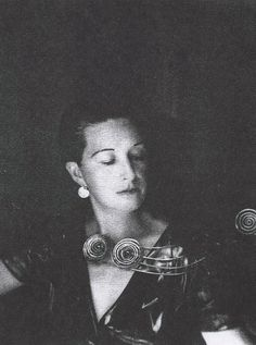 Margaret Schevell wears an Alexander Calder piece