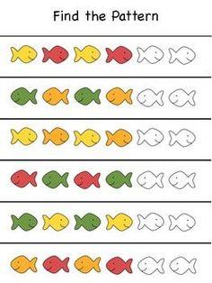 Goldfish Math Activities Find the Pattern Fish Activities, Toddler Learning Activities, Educational Activities, Preschool Prep, Preschool Worksheets, Kindergarten Math, The Ocean, Ocean Life, Pattern Worksheet