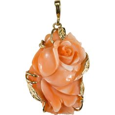 Amazing Coral Rose Pendant ~ A single coral rose.a forever symbol of love! This feminine pendant has one of the prettiest hand carvings in a Cameo Jewelry, High Jewelry, Turquoise Jewelry, Pendant Jewelry, Jewelry Design, Unique Jewelry, Coral And Gold, Gold Set, Coral Turquoise