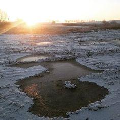 Mroźny wschód słońca na polach #Gałowo