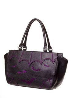 This gothic handbag is made from black PVC and is embroidered with purple bats and cobweb design. The bag has 2 handles.