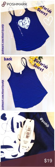 """NWT Victoria's Secret Sleep Cami Brand New With Tag Victoria's Secret Sleep Cami.  Super soft, light weight cotton/poly.  Double Strap.  Beautiful Detail.  The heart appliqué is a soft-to-the-touch material.  Very Nice💙Approx Length (laid flat) from top of straps to bottom of hem is 26"""" hemline tapers up at sides to approx 23"""" Length at sides. Retail value $29.50 + tax (Approx $31) (This sleep top was part of a top&short set)  Top-Rated Seller.  Fast Shipper!  Thanks for Looking😊 🚫No…"""