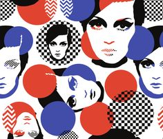 Mod design with beautiful women portrait custom fabric by for sale on Spoonflower Face Icon, Female Portrait, Surface Design, Custom Fabric, Art Girl, Spoonflower, Twiggy Style, Pop Art, Graffiti