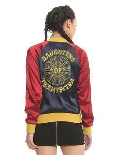 Her Universe DC Comics Wonder Woman Satin Souvenir Jacket, BLUE