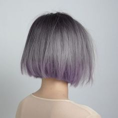 Short grey hair with purple ends