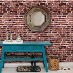Red Brick schälen & Stoff Tapete kleben. Dieses neu positionierbar Hintergrundbild ist entworfen und hergestellt in unseren Studios in New Jersey.