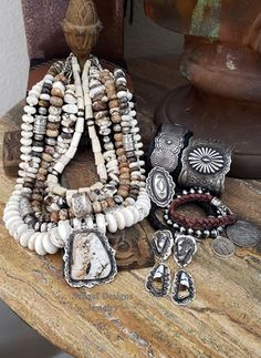 Southwestern Basics collection Arizona Wildhorse & deerskin jewelry by Schaef Designs Jewelry online Southwestern Jewelry, Southwestern Style, Beaded Jewelry, Silver Jewelry, Handmade Jewelry, I Love Jewelry, Jewelry Design, Deerskin, Hafiz
