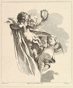 Trois Amours dont un tient un couronne (There Loves, one of which is Holding a Crown), from Quatrieme Livre de Groupes d'Enfans (Fourth Book of Groups of Children)